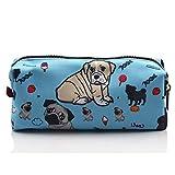 Estuche de perro carlino estudiantes lienzo bolígrafo bolso de la bolsa Papelería Caso Maquillaje Cosméticos Bolsa (azul)