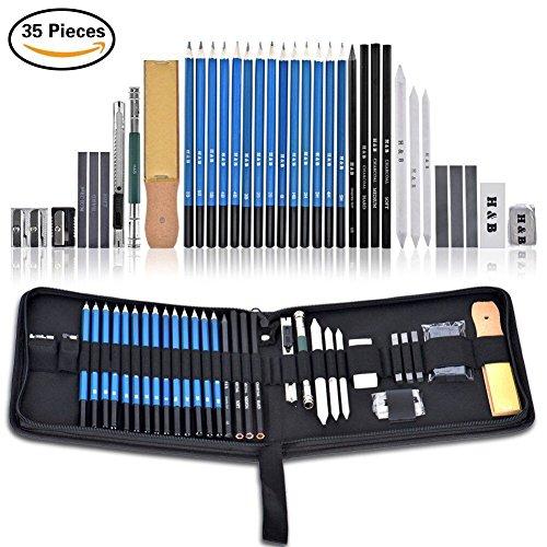 Bleistift Set, Queta 35 Stück Bleistift Art Kit Zeichnen und skizzieren Bleistift Art Set, Professional Graphit Bleistift Set für Skizzieren und Zeichnen