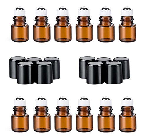 12 STÜCKE Mini Bernstein Glas Rollerflaschen mit Schwarzer Kappe und Stahl Roller Balls Kosmetische Vorratsbehälter Jar Töpfe für ätherisches Öl Parfüm Aromatherapie Probe (2ml) -