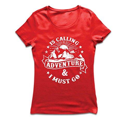 Frauen T-Shirt Ruft Abenteuer - Familienurlaub Urlaub Kleidung, Bergwandern (Small Rot Mehrfarben)