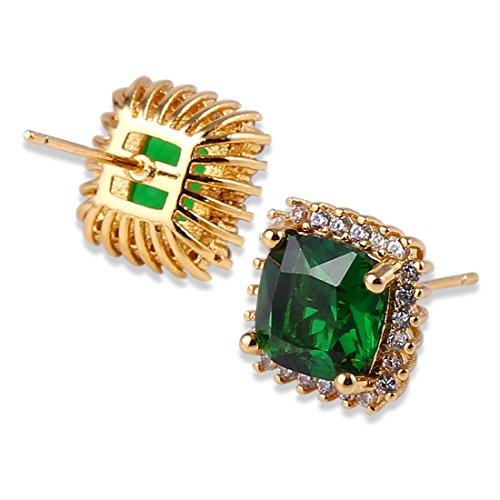 GULICX 18 K de oro amarillo chapado verde de cristal de Color esmeralda Zircon suizo de corte de la princesa del pendiente del perno prisionero Piercing