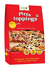 NEO FOODS Neo Pizza Topping Black and Red Olives, 110g, Pack of 40
