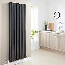 Milano Radiador de Diseño Vertical Doble - Negro Lúcido- 1780mm x 590mm x 78mm -