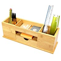 Desk Tidy with Drawer, Wide Stationery Organiser 5 Compartments, Made of Bamboo