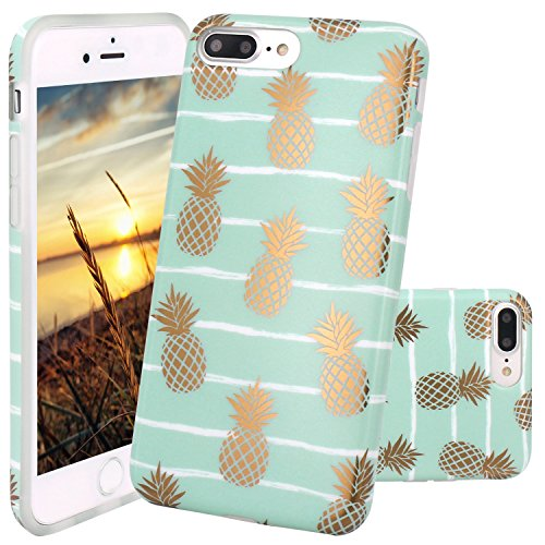 JIAXIUFEN iPhone 7 Plus Hülle, Shiny Gold Pineapple Mint Marmor Flexible TPU Silikon Schutz Handy Hülle Handytasche HandyHülle Schale Case Cover Schutzhülle für Apple iPhone 7 Plus/iPhone 8 Plus
