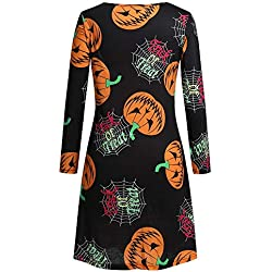 ZOTTOM Femmes Manches Longues Pumpkins Halloween soirée Bal Costume Robe Swing