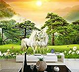 Papier peintnon tisséPapier peint photo 3D blanc cheval nature paysage grandes peintures murales peinture murale salon TV fond mural papier peint, 430 * 300 cm