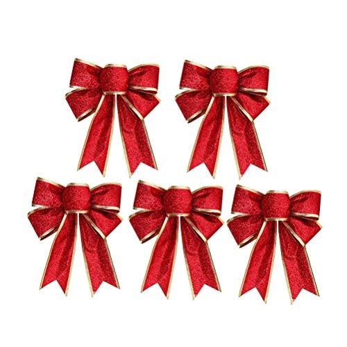 SUPVOX 5 teile/paket Große Weihnachten Bogen Glitter Glitzernde StoffGold Geschenk Band Baumschmuck Geschenke Kinder (Rot) (Tree Topper Bow)