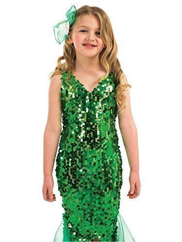 Meerjungfrau Damen Kleine Kostüm (Pailletten Grün Mädchen-Kleine Meerjungfrau/Prinzessinnen Buch--Tage-Woche Halloween Kostüm Outfit bis 12)