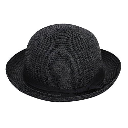XY Fancy Damen modisch Rand kräuseln Bowler-Hüte sommer Sonnenschirm-Hut Strohhut mit Schliefe (Piraten Günstige Hut)