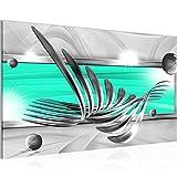 Bilder Abstrakt Wandbild Vlies - Leinwand Bild XXL Format Wandbilder Wohnzimmer Wohnung Deko Kunstdrucke Türkis Grau 1 Teilig - MADE IN GERMANY - Fertig zum Aufhängen 008514b