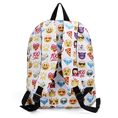 5178XKkM3PL. SS500  - KING DO WAY Emoji School Bag Backpack Canvas Laptop for Boys Girls Student Travel Books Shoulder Bag