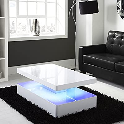 Tiffany White High Gloss Rectangular Coffee Table with LED Lighting - inexpensive UK coffee table shop.