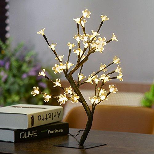 1x Crystal Cherry Blossom 48-led Tree Light Night Lights Table Lamp Luminarias Christmas Decoration Luz De Led 45cm Nachtlicht (Cherry Christmas Lights)