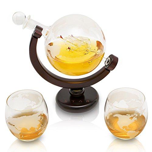 VinoYes Edle Whisky Karaffe mit Whiskygläser Set aus Handarbeit | Decanter Whisky set mit schöner Geschenkbox | luftdichter Verschluss | Glasskaraffe mit Whiskyglas für Whiskykenner mit Globus | 850ml