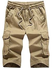 Ghope Eté Pantalon Court Hommes Cargo Shorts Bermuda Travail Shorts Pantacourt Avec Multi Poches (Cordon de serrage)