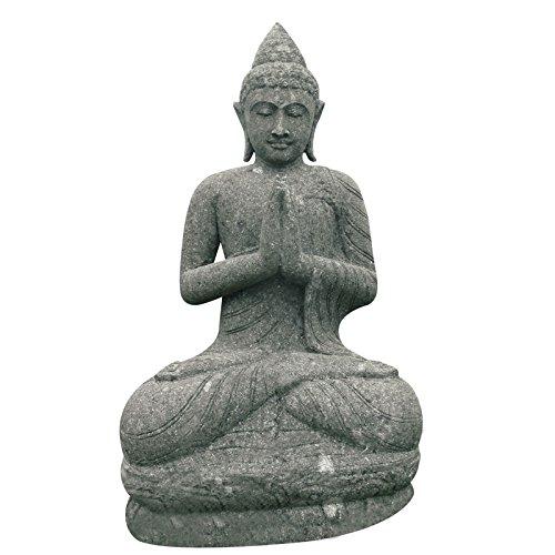 Buddha Skulptur sitzend 80cm betend Green Stone Gartenfigur Feng Shui Steinfigur