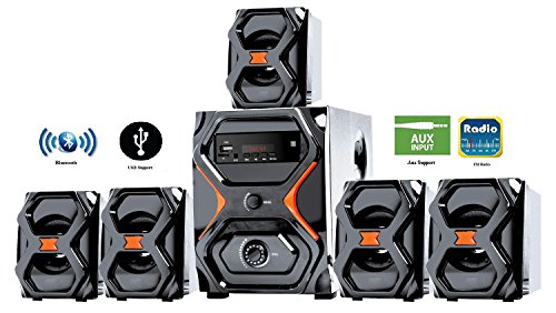 IKALL 5.1 Channel Bluetooth Multimedia Home Theater System(Black and Brown)