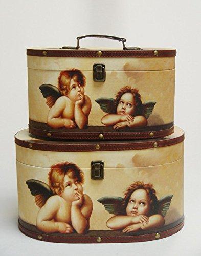 Zwei teiliges rundes Kofferset verschönert mit jeweils zwei kleinen verträumten Engeln