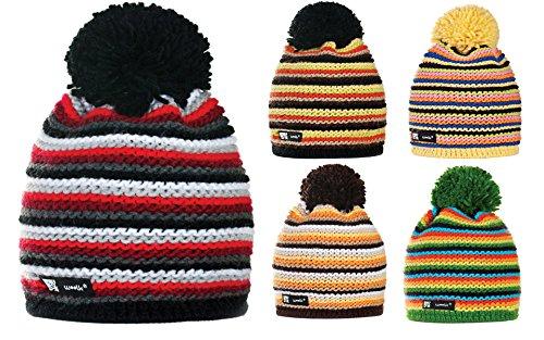 4sold Bonnet d'hiver à pompon en laine unisexe Noir/gris - Twister 28
