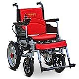 EMOGA Elektrischer Rollstuhl Multifunktionsfalte Elektrorollstuhl Autoälterer Intelligenter Automatischer Tragbarer Roller Älterer Behinderter,Red