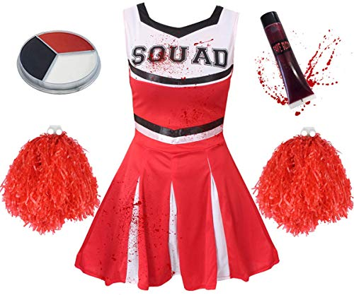 ILOVEFANCYDRESS Kind Zombie Cheerleader KOSTÜM - MÄDCHEN Zombie Cheerleader KOSTÜM MIT POM POMS, Blut, GESICHTSBEMALUNG (X-GROẞ - ROT) (Böses Mädchen Cheerleader Kostüm)