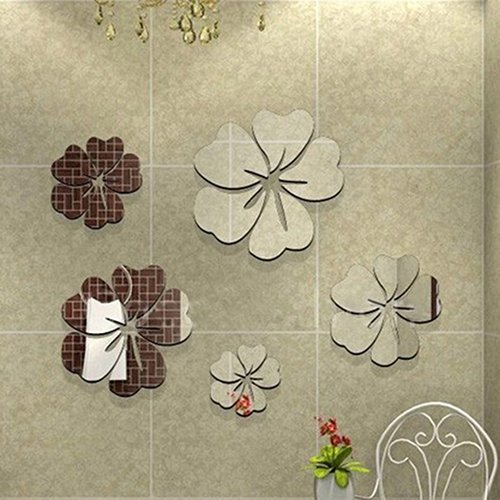 Bodhi2000 5Pcs Flowers 3D Art Mirror Effect Wall Stickers Removable DIY Wall Decal Home Decoration Bathroom Decor