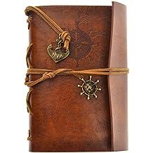 ULTNICE Cuaderno hojas sueltas de anclaje Vintage retro PU con 85 hojas Bloc viaje diario diario libro Jotter Brown