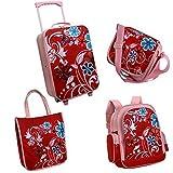 4-er Reiseset mit Trolley, Rucksack und Taschen für kleine Damen