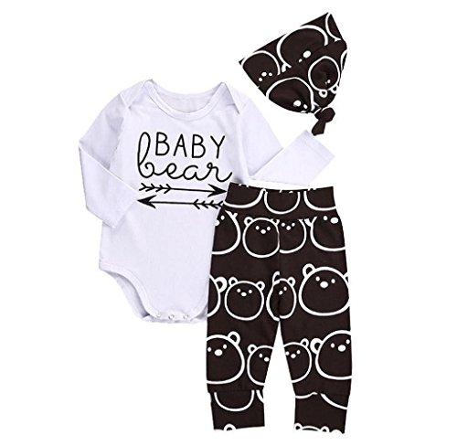 Covermason Baby Jungen Mädchen Strampler Romper + Lange Hosen + Hut Outfits Bekleidungssets (70 (3 Monate), Weiß)