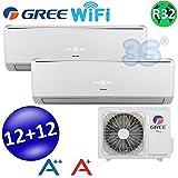 Climatizzatore inverter dual split LOMO Wi-Fi 12000 + 12000 Btu (U.E.18) GREE R32 classe A++/A+