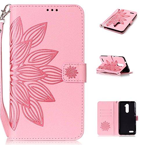 ZTE Z981 Hülle, ZTE Z981 Case, Cozy hut ZTE Z981 Drucken(Die Hälfte Blume)PU Ledercase Tasche Hüllen Schutzhülle Scratch Magnetverschluss Telefon-Kasten Handyhülle Standfunktion Handycover Solide Pink - Pink Lotus