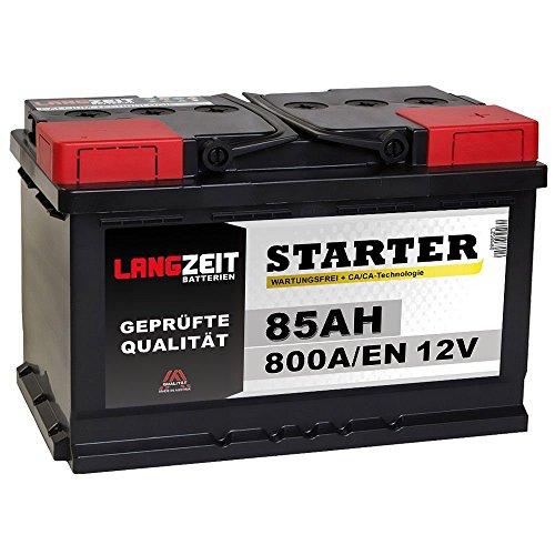 LANGZEIT Autobatterie 12V 85AH 800A/EN ersetzt 80Ah 90Ah Starter Batterie