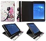 Sweet Tech Alcatel 1T 7 Zoll Tablet Blumen Schmetterling Mädchen Universal 360 Grad Drehung PU Leder Tasche Schutzhülle Case (7-8 Zoll