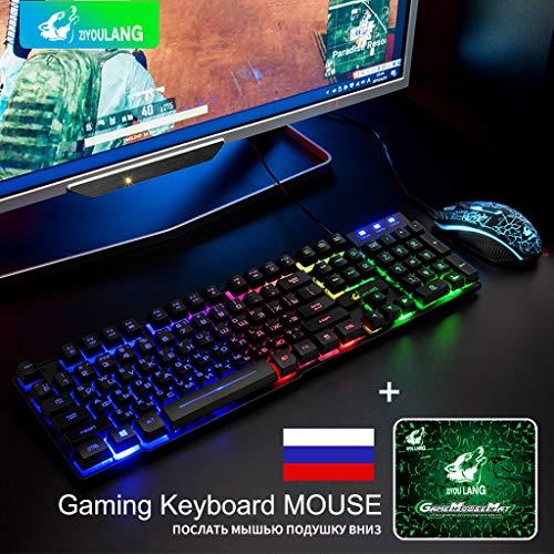 hahuha 🎅 T5 Regenbogen Hintergrundbeleuchtung USB Ergonomic Gaming Englisch Russisch Tastatur und Maus Set