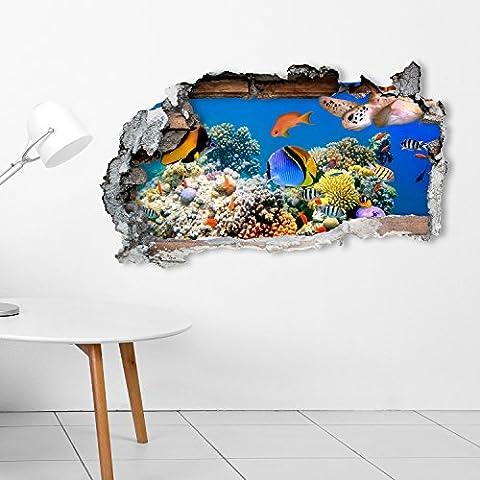 Photo Realistic Tropical Sealife Underwater Scene 1 Broken Wall Bathroom Kitchen Bedroom Lounge Wall Transfer Decal Mural