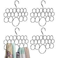 mDesign corbatero con 18 ganchos para colgar corbatas o cinturones - Percha para organizar accesorios color cromado - Organizador de armario - Juego de 4 unidades
