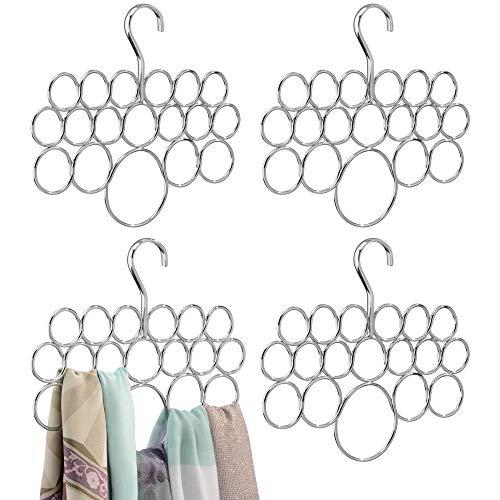 mDesign Schalhalter 4er-Set – Kleiderschrank Organizer für Tücher, Krawatten, Schals, Pashminas, Accessoires u. v. m. – Aufbewahrungssystem aus Metall mit 18 Schlaufen – Farbe: Chrom