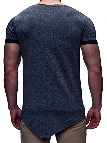 LEIF NELSON Herren T-Shirt Rundhals Kurzarmshirt Top Basic Shirt Crew Neck Vintage Sweatshirt LN06261 Anthrazit