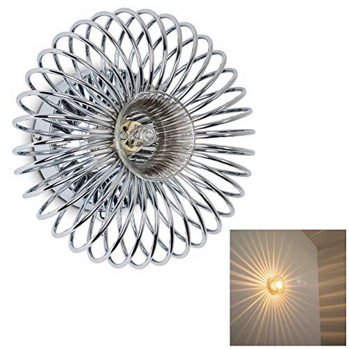 Chrom Wandleuchte Lampe (Wandlampe Meran aus Metall in Chrom, moderne Wandleuchte mit Lichteffekt, 1 x G9 max. 28 Watt, Innenwandleuchte mit strahlenförmigem Lampenschirm, geeignet für LED Leuchtmittel)