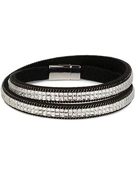 styleBREAKER Wickelarmband mit edlem Strass und Gliederkette, Magnetverschluss Armband, Glitzersteine, Damen 05040039