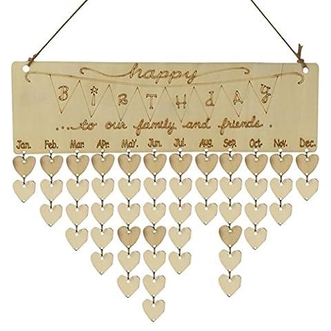 Mode Holz DIY Kalender HARRYSTORE Geburtstag Mahnung Tafel Birke Schicht Plakette Family & Friends Schild (Laterne Weihnachtsschmuck)