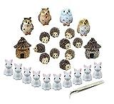 Miniatur Garden Ornaments, nicwhite 26Miniatur Ornaments Kit Set Fairy Garden Figuren Zubehör für Heimwerker Puppenhaus Dekoration, mit Blumentopf Pinzette