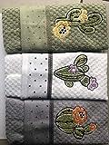 Vingi Set 3 Strofinacci in Spugna Ricamati Art Kactus Mis 40 x 70 Colori Verde Bianco Grigio