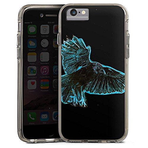 Apple iPhone 7 Plus Bumper Hülle Bumper Case Glitzer Hülle Crow Kraehe Bird Bumper Case transparent grau