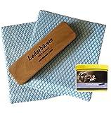 Carmesin Sattelseife mit Schwamm + Lederbürste Reinigungsbürste Rosshaar echt 15 x 4 cm Echtholz + 2 Tücher + 2 Vinylhandschuhe (500)
