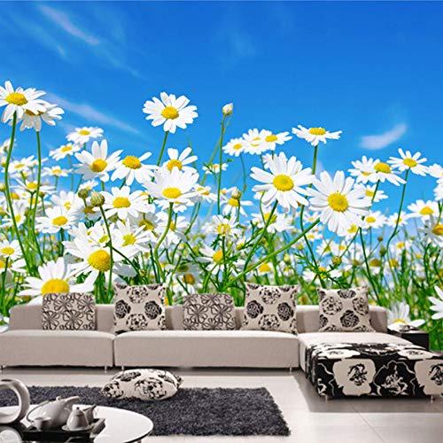 Fototapete 3D Daisy Schlafzimmer Wohnzimmer TV Hintergrundbild Tapete Vlies Moderne Große Wandmalerei Blumen-400×280CM