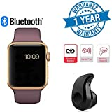 Wonderford Golden A1 Bluetooth SmartWatch With WhatsApp, Facebook, Twitter, Pedometer, Remote Camera, SIM Card & Sleep Monitoring Support With Ultra Small S530 Bluetooth 4.0 Headset Compatible With Xiaomi Mi, Apple IPhone & IPad, Samsung, Sony, Le