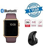 #3: Twogood Apple Compatible Golden A1 Bluetooth SmartWatch With WhatsApp, Facebook, Twitter, Pedometer, Remote Camera, SIM Card & Sleep Monitoring Support With Ultra Small S530 Bluetooth 4.0 Headset (1 Year Warranty)