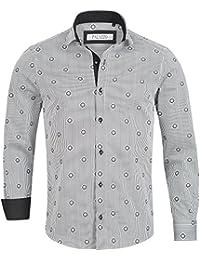 68168f6c5ed8 Palazzo Herren-Hemd Sommer Slim-Fit Shirt Langarm-Hemd Freizeit Business  Gestreifter Aufdruck